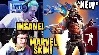 "Streamers React to *NEW* ""Star-Lord"" Marvel Skin + Dance Off Emote! 