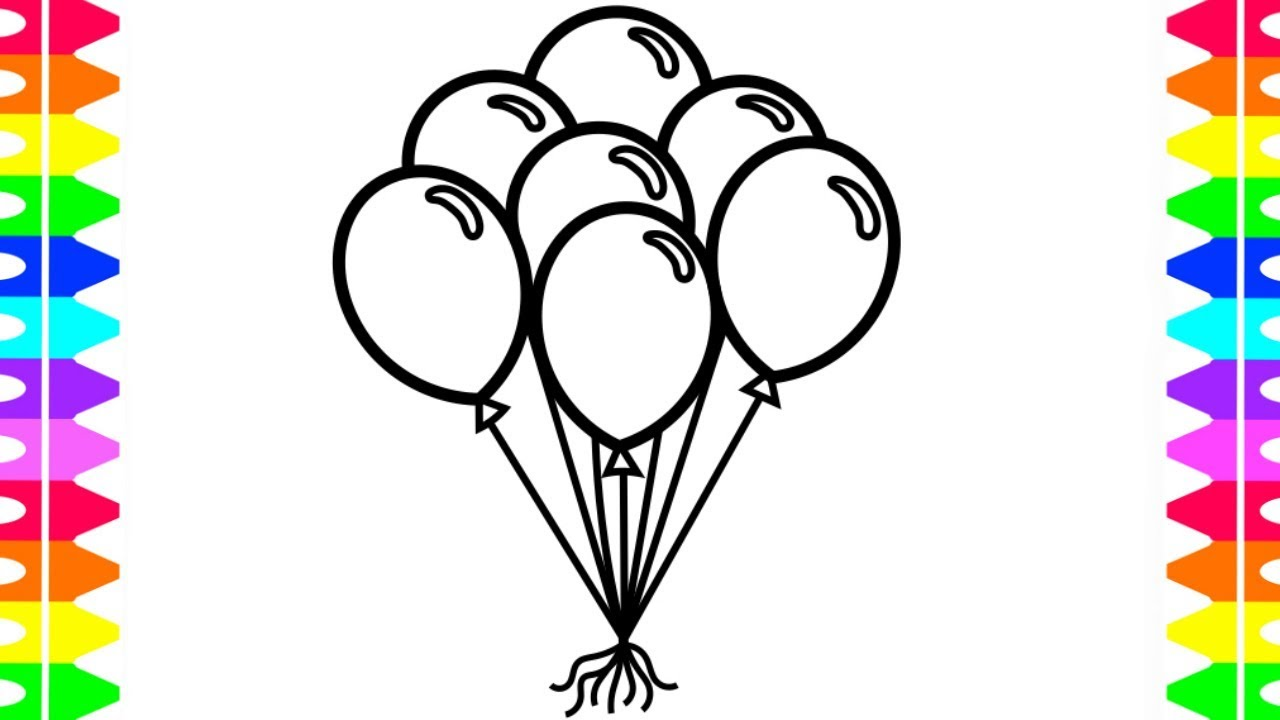 LEARN HOW TO DRAW AND COLOR BALLOONS-Coloring Pages for Kids- Colors ...