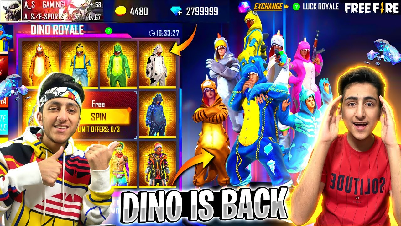Dino Royal Is Back 😍 | 10,000 Diamond Spin For Rare Dino & Mystery Shop - Garena Free Fire