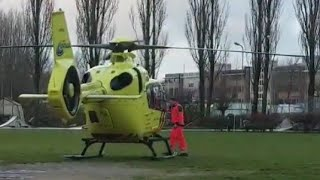 Ingestuurd traumahelikopter LFL1 stijgt op na uitruk Wormer