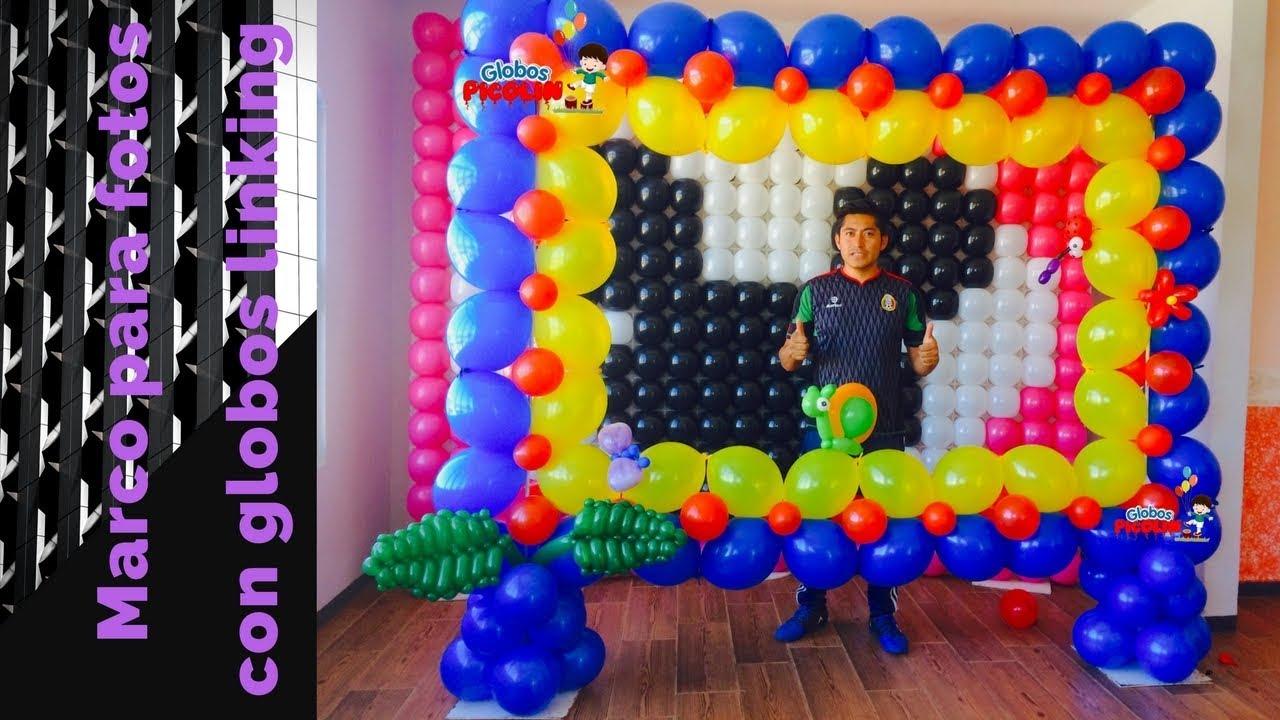Marco para fotos con globos linking youtube for Decoracion marcos fotos