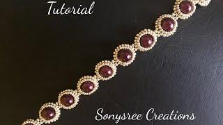 DIY pearl beaded bracelet(simple and elegant) square Stitch 🍒