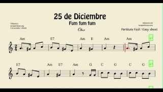 25 de Diciembre Partitura de Oboe Fum Fum Fum Villancico