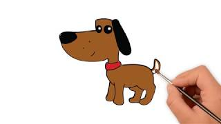 Learn How to draw a dog brown - How to draw funny cartoons