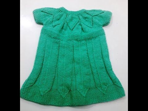 Knitting Frock Patterns : Part 1 - knitting frock in leaf pattern - easy step by step tutorial - YouTube