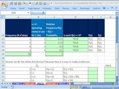 Excel Statistics 57: Build Discrete Probability Distribution & Chart