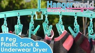 HANGERWORLD - 8 Peg Plastic Sock & Underwear Dryer