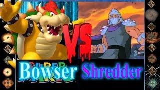 Bowser (Super Mario) vs Shredder (TMNT) - Ultimate Mugen Fight 2017