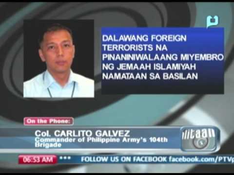 Panayam kay Col. Carlito Galvez tungkol sa 2 foreign terrorist na namataan sa Basilan