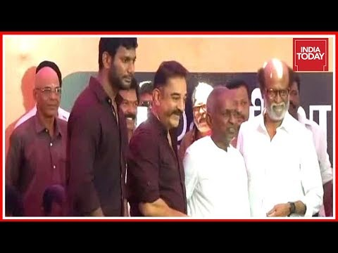 Kamal Haasan, Rajinikanth Join Tamil Actors Protest For Cauvery Management Board