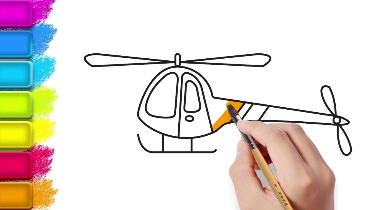 Cocuklar Icin Cizim Helikopter Cizim Ve Boyama Resim Boyama