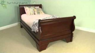 Sleigh Solid Mahogany Single Bed From Oak Furniture Land