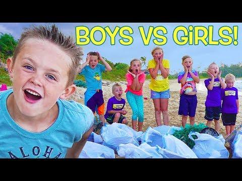 Girls VS Boys! Beach Clean up Competition! Kids Fun TV!