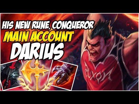 DARIUS' NEW RUNE, CONQUEROR - Climb To Master S8   League Of Legends