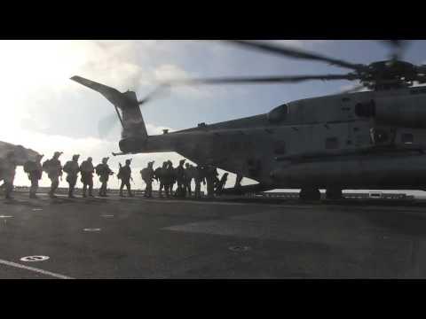 11th MEU Marines launch vertical assualt mission