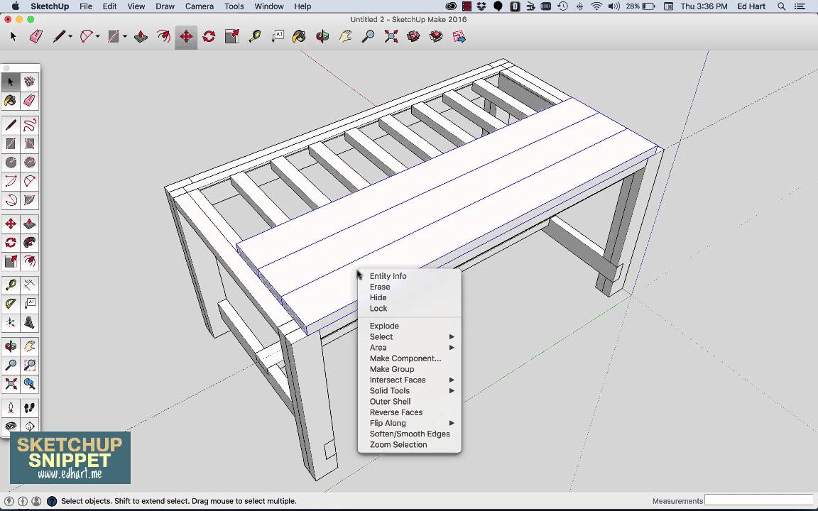 SketchUp Snippet: Drawing a Farmhouse Table: Part 3 of 4 - YouTube