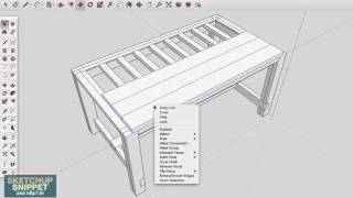 SketchUp Snippet: Drawing a Farmhouse Table: Part 3 of 4