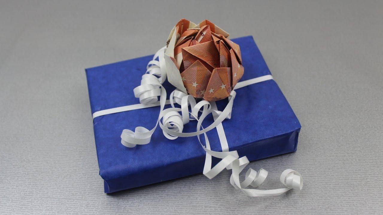 Geld falten Lotusblume aus Geldscheine basteln Deko Ideen mit Flora Shop YouTube ~ 01192651_Liegestuhl Aus Geldscheine Falten