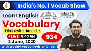 8:40 AM - English Vocabulary | Learn English Vocabulary Tricks with Harsh Sir | Day #934