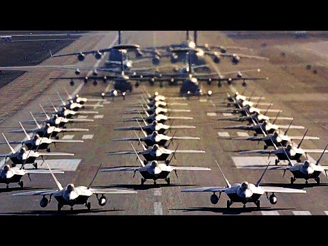 Display Of Air Power: F-22 Raptor Readiness Exercise/'Elephant Walk' Including Mass Takeoff