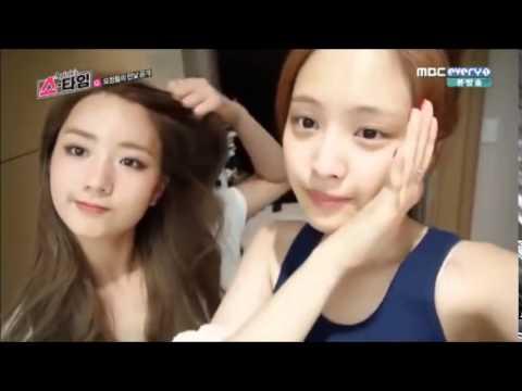 Apink Bare Face and Eunji hair drying cut @ Apink Showtime