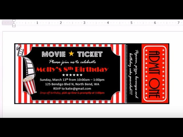 How To Make Invitation With Ms Word Movie Theater Ticket Example Youtube