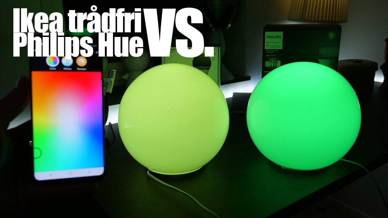 test av smart belysning philips hue vs ikea tr dfri youtube. Black Bedroom Furniture Sets. Home Design Ideas