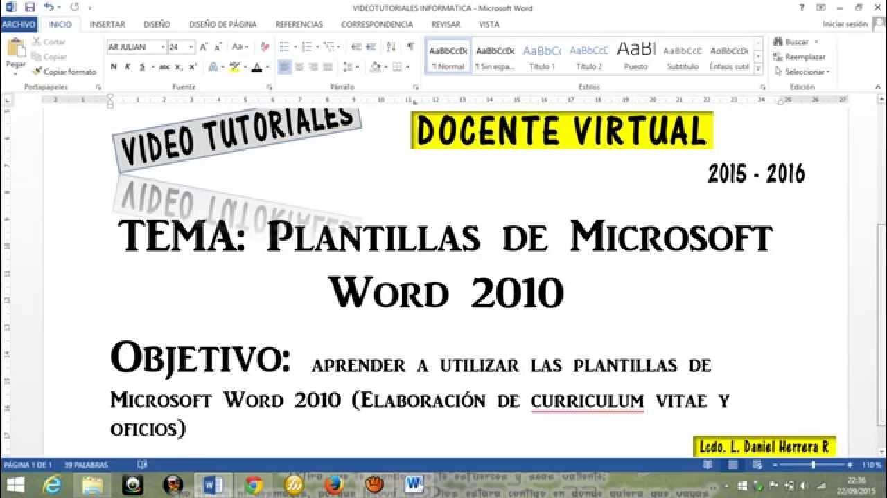 PLANTILLAS WORD 2010 CURRICULUM VITAE OFICIOS - YouTube