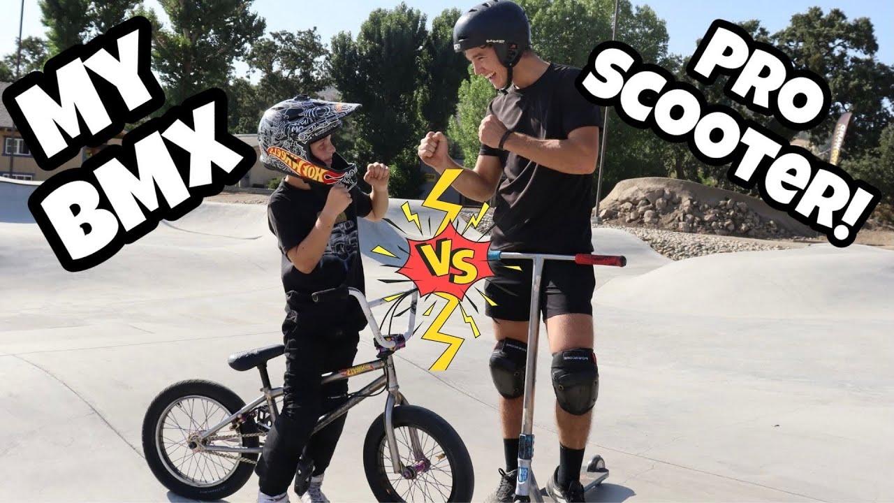 BMX vs PRO SCOOTER Rider TRICK CHALLENGE!