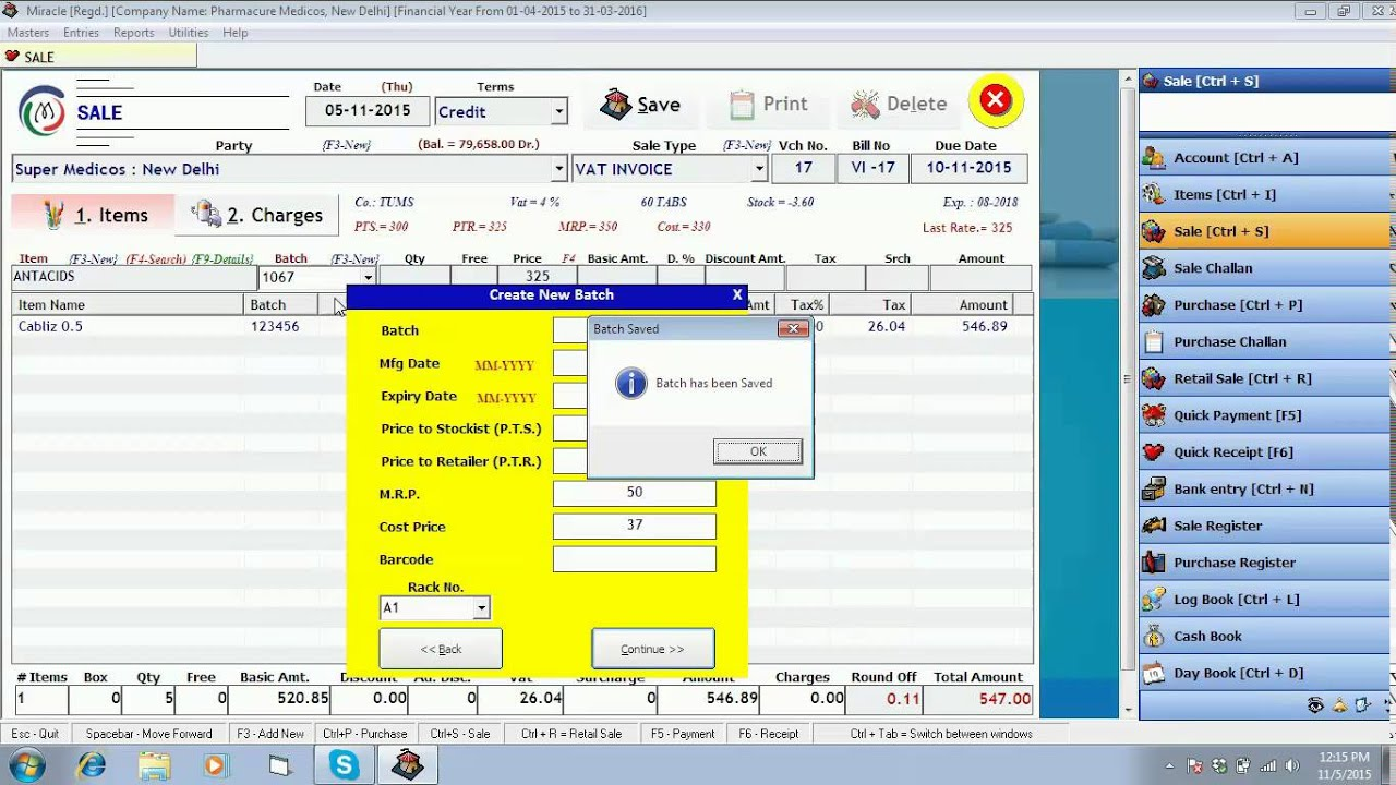 creating sale bills in miracle pharma software on attractive bill