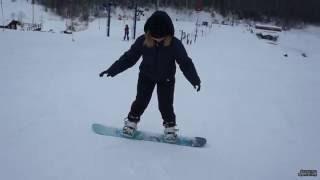 Сноуборд, обучение катанию для начинающих. 3. Пример обучения Юли с нуля.