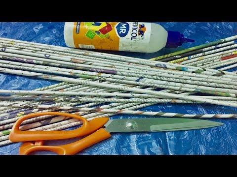 Newspaper craft idea/ waste material craft | Wall hanging craft idea
