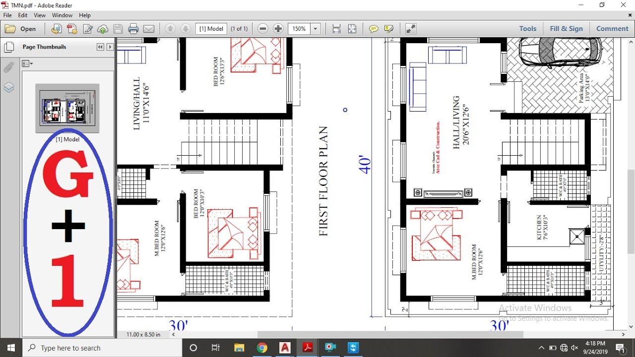 30x40 4bhk duplex house plan details youtube