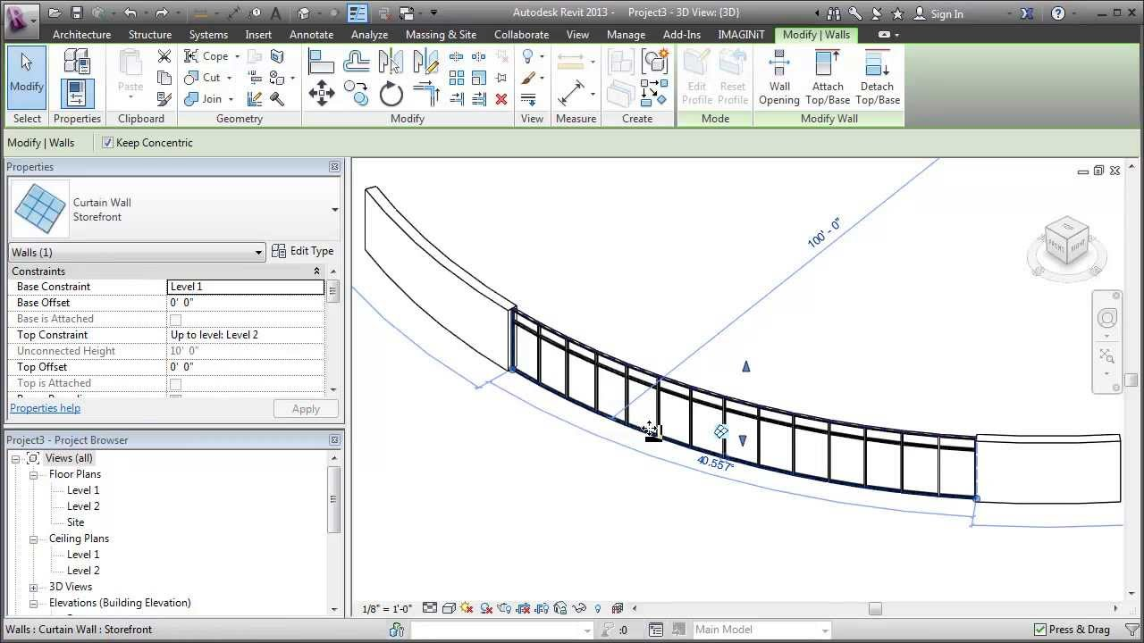 Revit Edit The Profile Of A Curved Wall Youtube