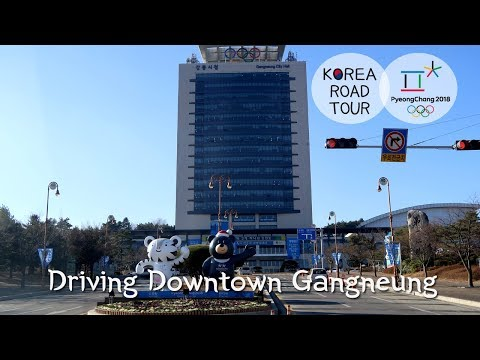 Driving Downtown Gangneung-si, South Korea: the center of ice sports playing on ice rinks