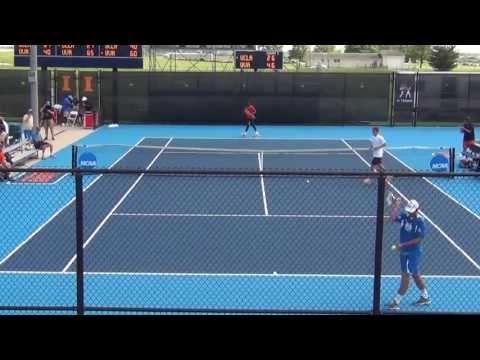 Jenkins takes the 1st set tiebreak over Dennis Novikov