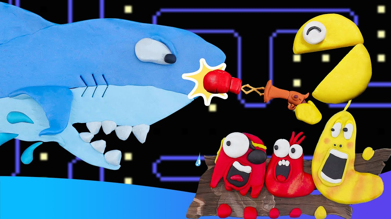 Pirate Pac-Man vs Siren Head and Shark Monster Battle   Pacman Stop Motion Game