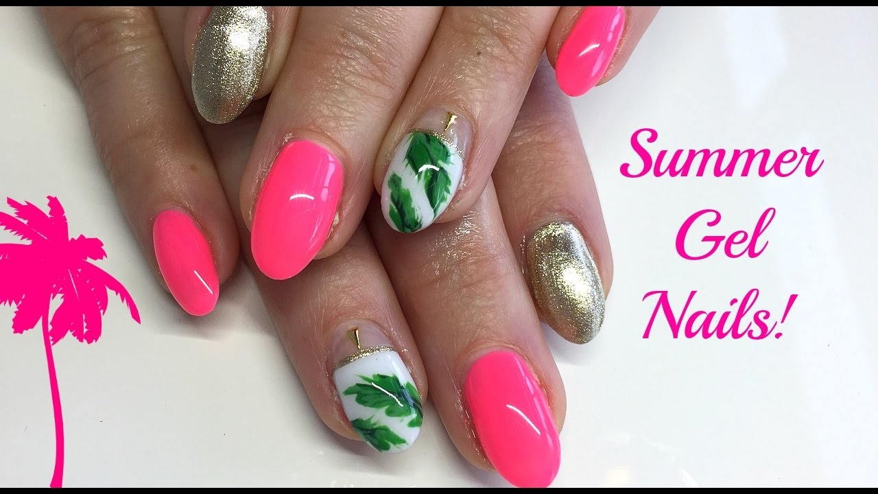 Watch Me Work Pink Gold And Palm Leaf Summer Nail Art Youtube