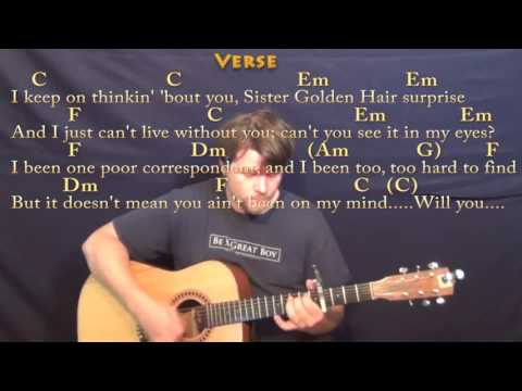 Sister Golden Hair (America) Guitar Lesson Chord Chart with On-Screen Lyrics