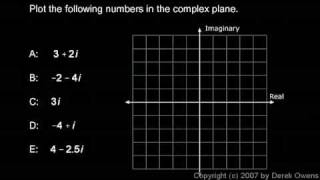Algebra 2  4.4c - Complex Numbers, Part 3 - The Complex Plane