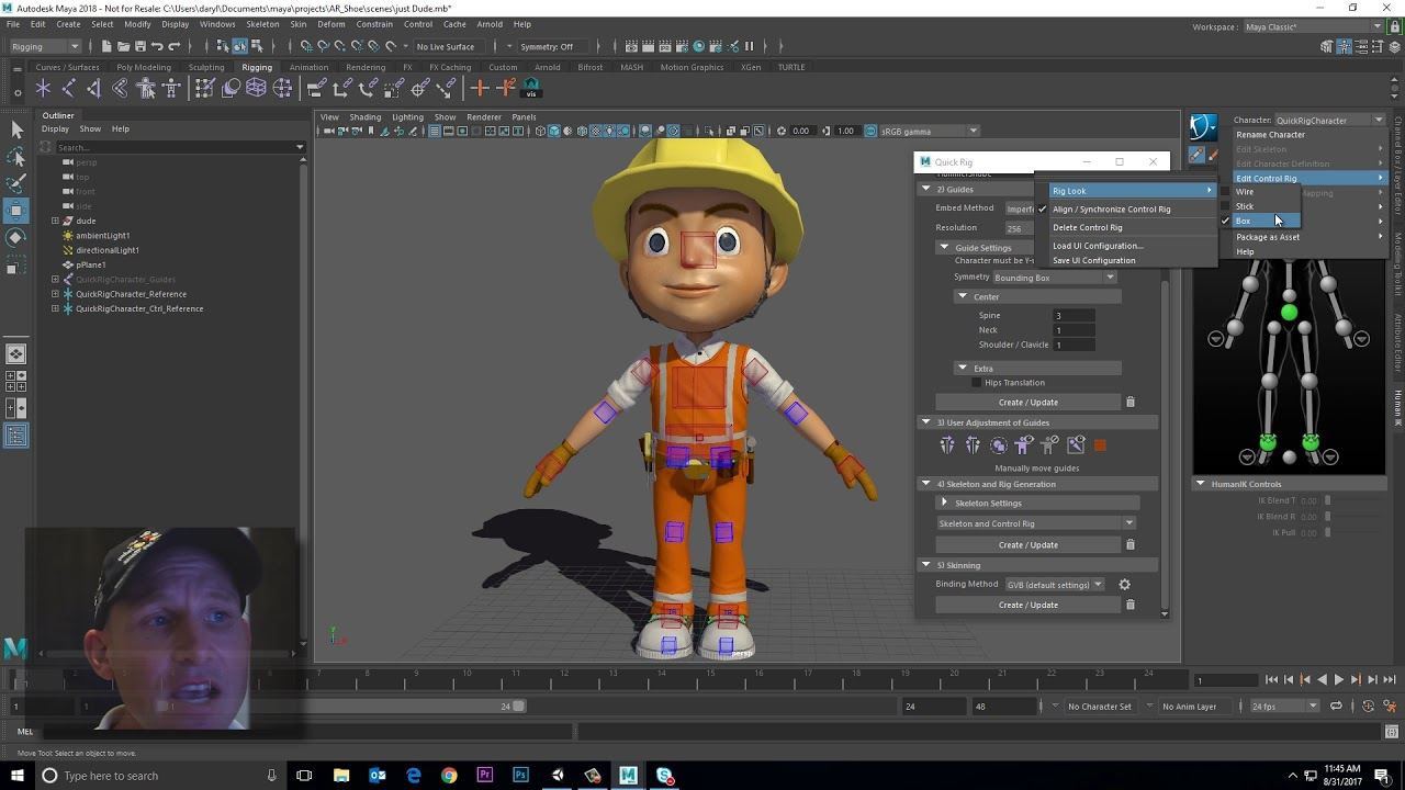 Get Familiarity with Maya 2018 Auto Rig Tool