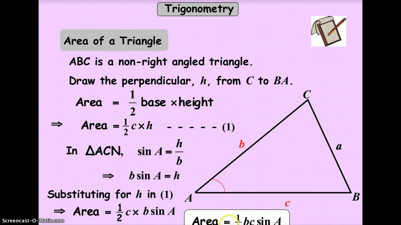 worksheet Area Of A Triangle Using Sine Worksheet cic area of a non right angled triangle youtube