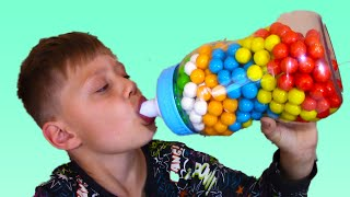 Hungry Bad Kid Crying and Learn Colors with GIANT Baby Bottles & Finger Family Nursery rhymes Song
