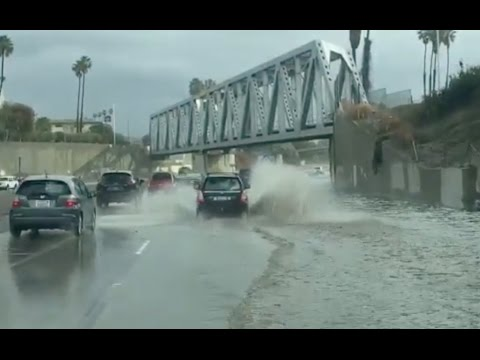 Drivers posting crazy videos from highway flooding in California