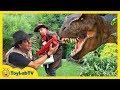 GIANT T-REX & LIFE SIZE DINOSAURS Chase Park Rangers & Despicable G! Kids Adventure w/ Dinosaur Toys