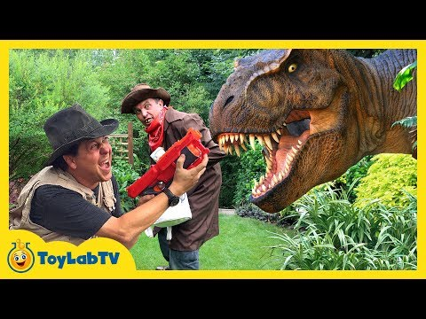 Thumbnail: GIANT T-REX & LIFE SIZE DINOSAURS Chase Park Rangers & Despicable G! Kids Adventure w/ Dinosaur Toys