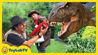 Giant T-Rex & Life Size Dinosaurs with Park Rangers Aaron & LB! Kids Adventure with Dinosaur Toys