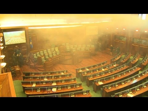 Protesting MPs release tear gas in Kosovo parliament