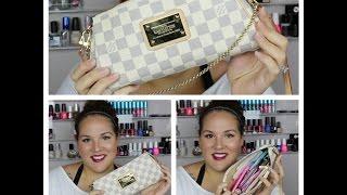 what s in my purse crossbody bag summer edition louis vuitton eva clutch damier azur