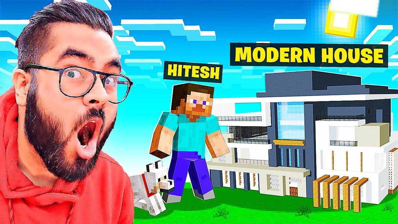 Building MODERN HOUSE in MINECRAFT 😎 | Hitesh KS